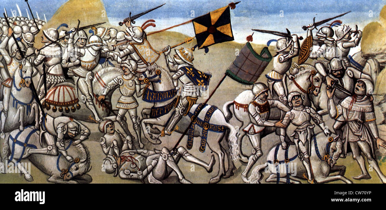 Manuscript, Battle scene between French and Flemings - Stock Image