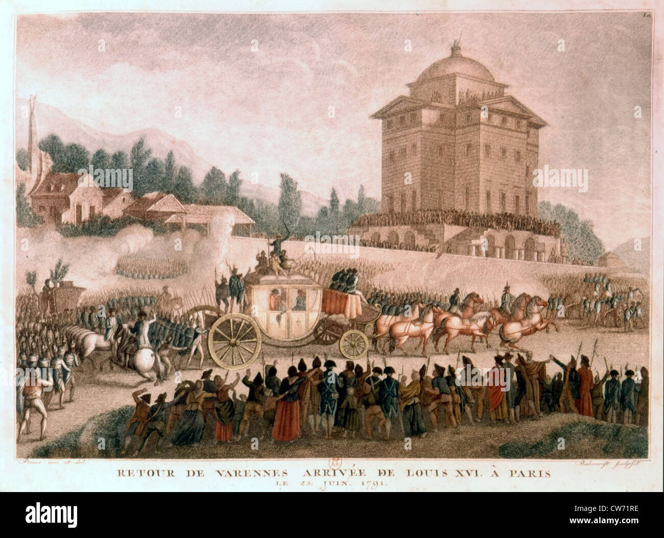 The return from Varennes (June 23, 1791) - Stock Image