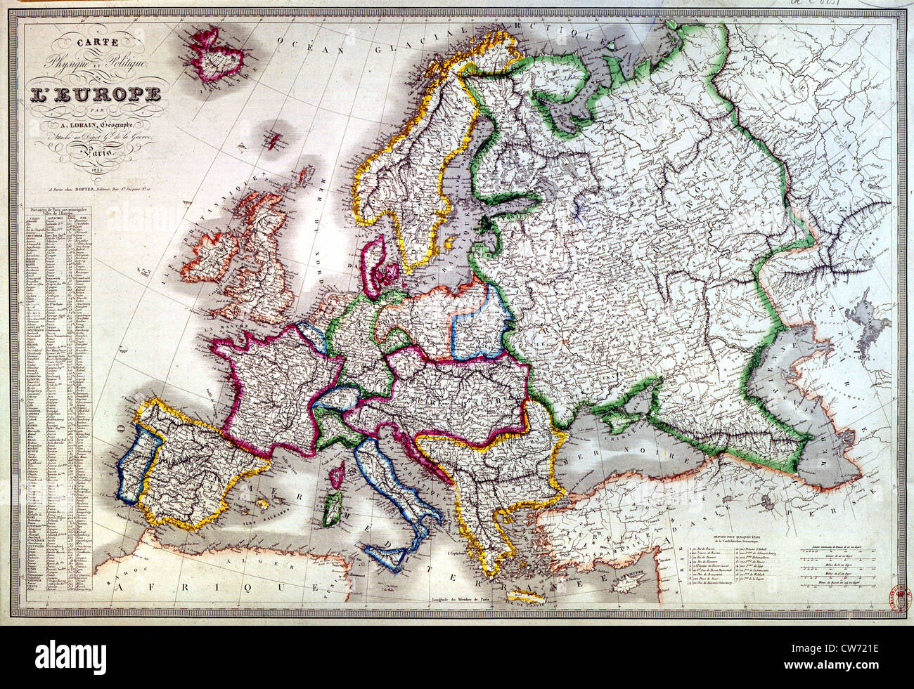 Map of Europe in 1836 - Stock Image