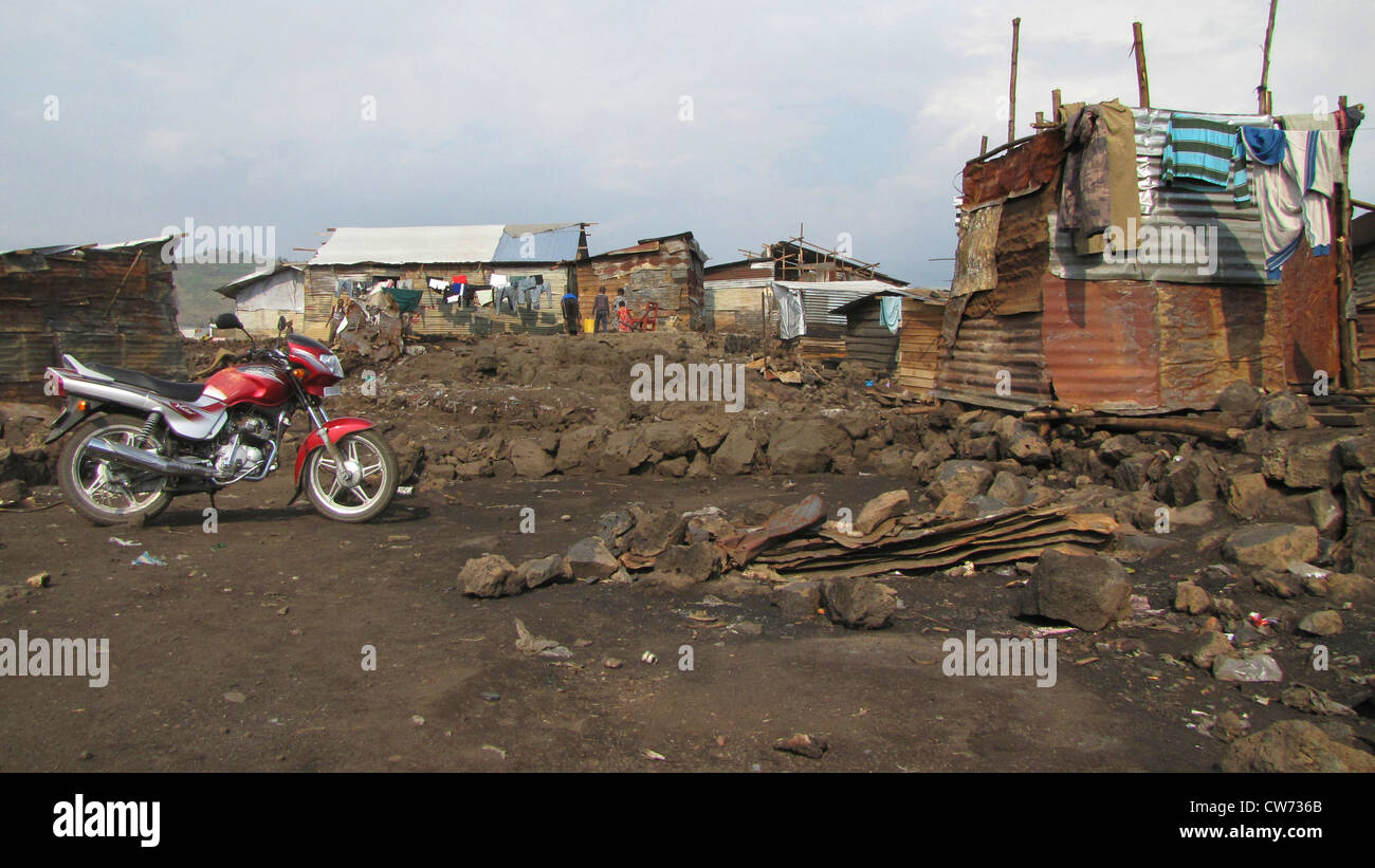 slums of the city of Goma, being called the 'burned quarter' ('quartier brul�') since fire breaks - Stock Image