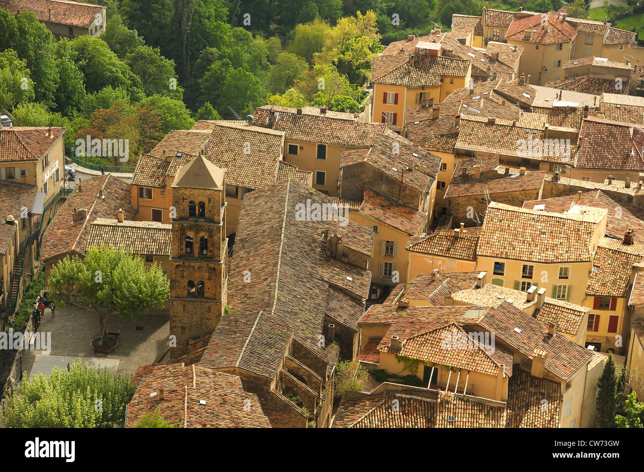 view over the roofs of a picturesque village , France, Provence-Alpes-C�te d�Azur, Moustiers-Sainte-Marie Stock Photo