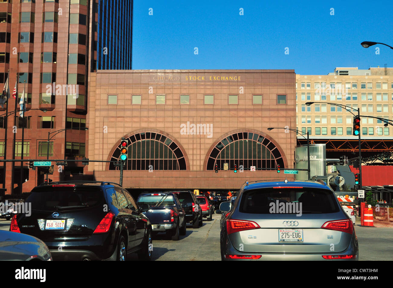 USA Illinois Chicago Heavy traffic on the inbound Eisenhower Expressway tunnel in the Chicago Stock Exchange Building. - Stock Image