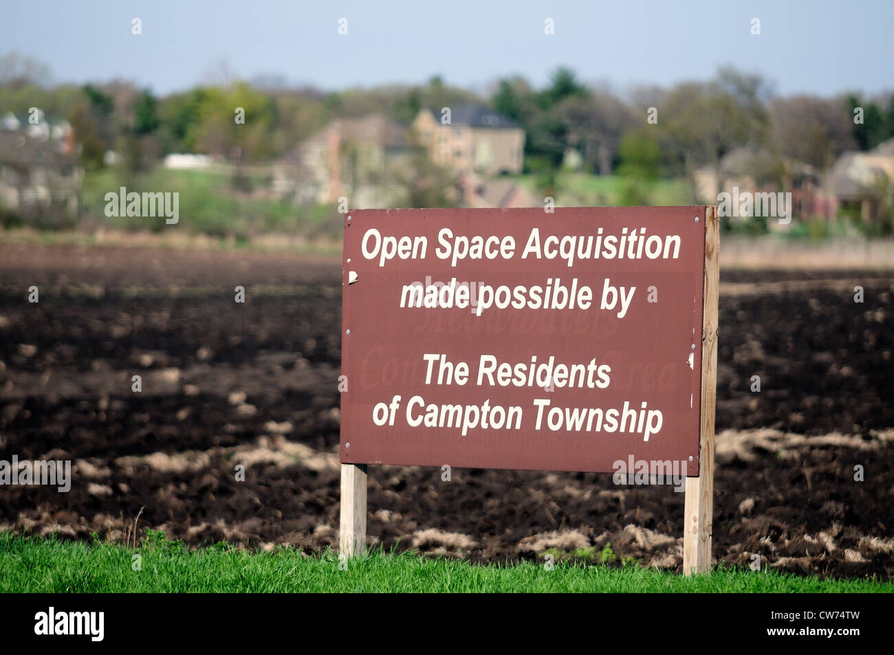 Agricultural land being acquired by communities to be used as open space or home development. - Stock Image