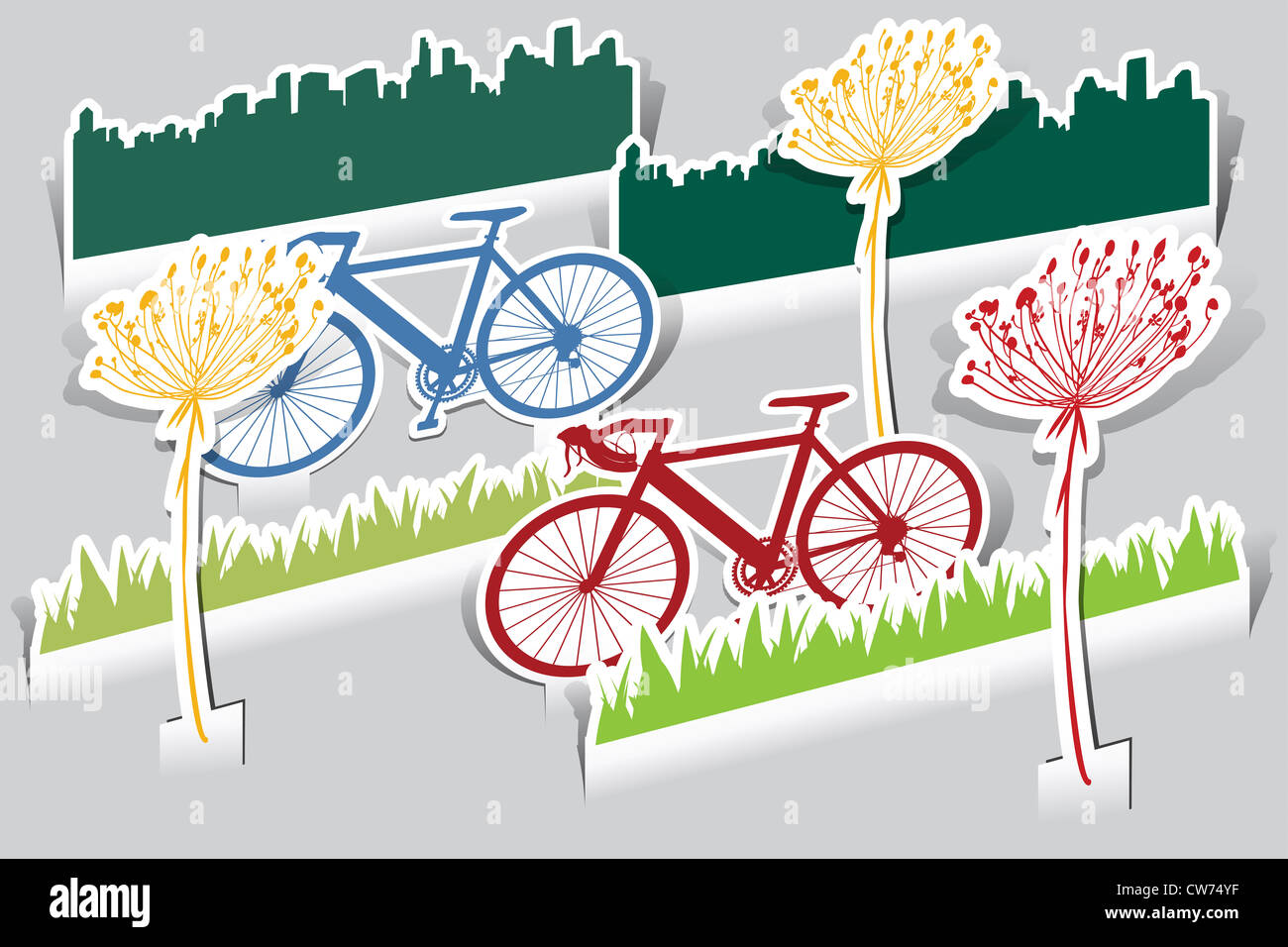 set of paper cut bike, grass,bike, grass, flower icon - Stock Image