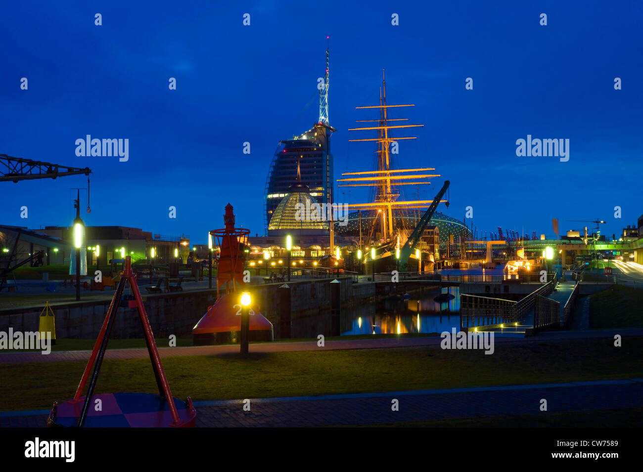 night shot of the German Maritime Museum (Deutsches Schiffahrtsmuseum), Germany, Freie Hansestadt Bremen, Bremerhaven Stock Photo