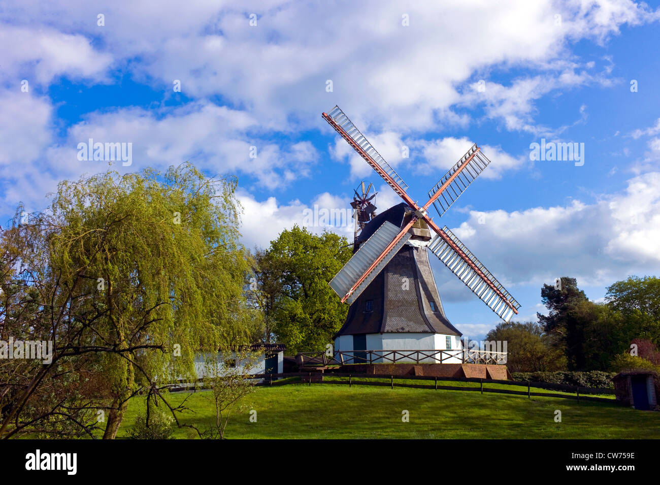 windmill, Germany, Lower Saxony, Landkreis Osterholz, Worpswede - Stock Image