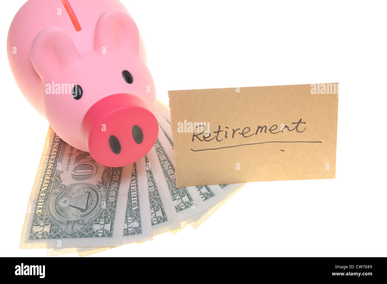 Piggy bank saving for retirement concept, isolated on white background - Stock Image