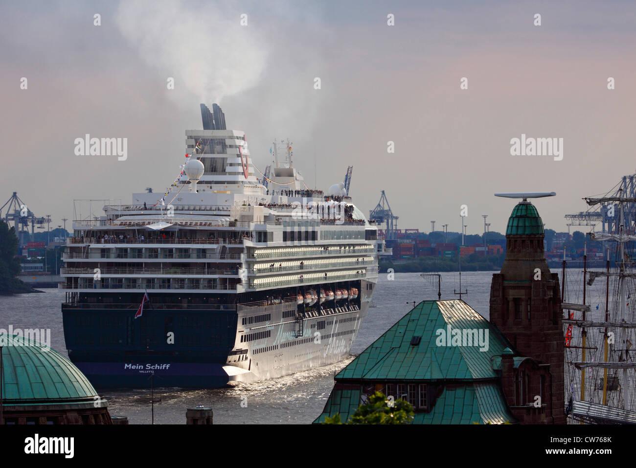 sailing Cruise Ship Mein Schiff , Germany, Hamburg - Stock Image