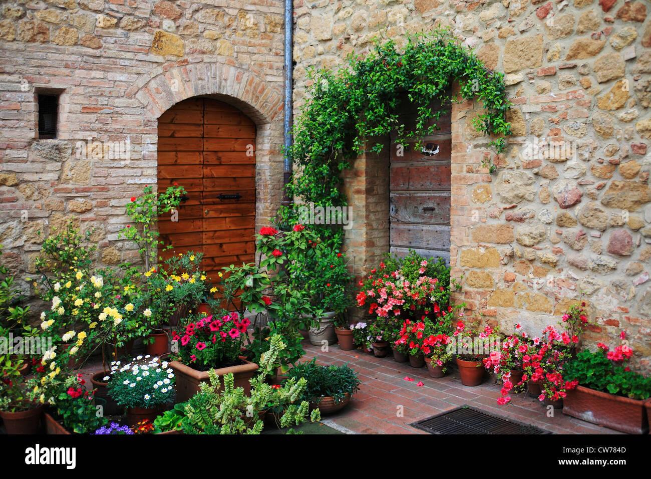 Atrium Of Old Italian Stone House Italy Tuscany Val D