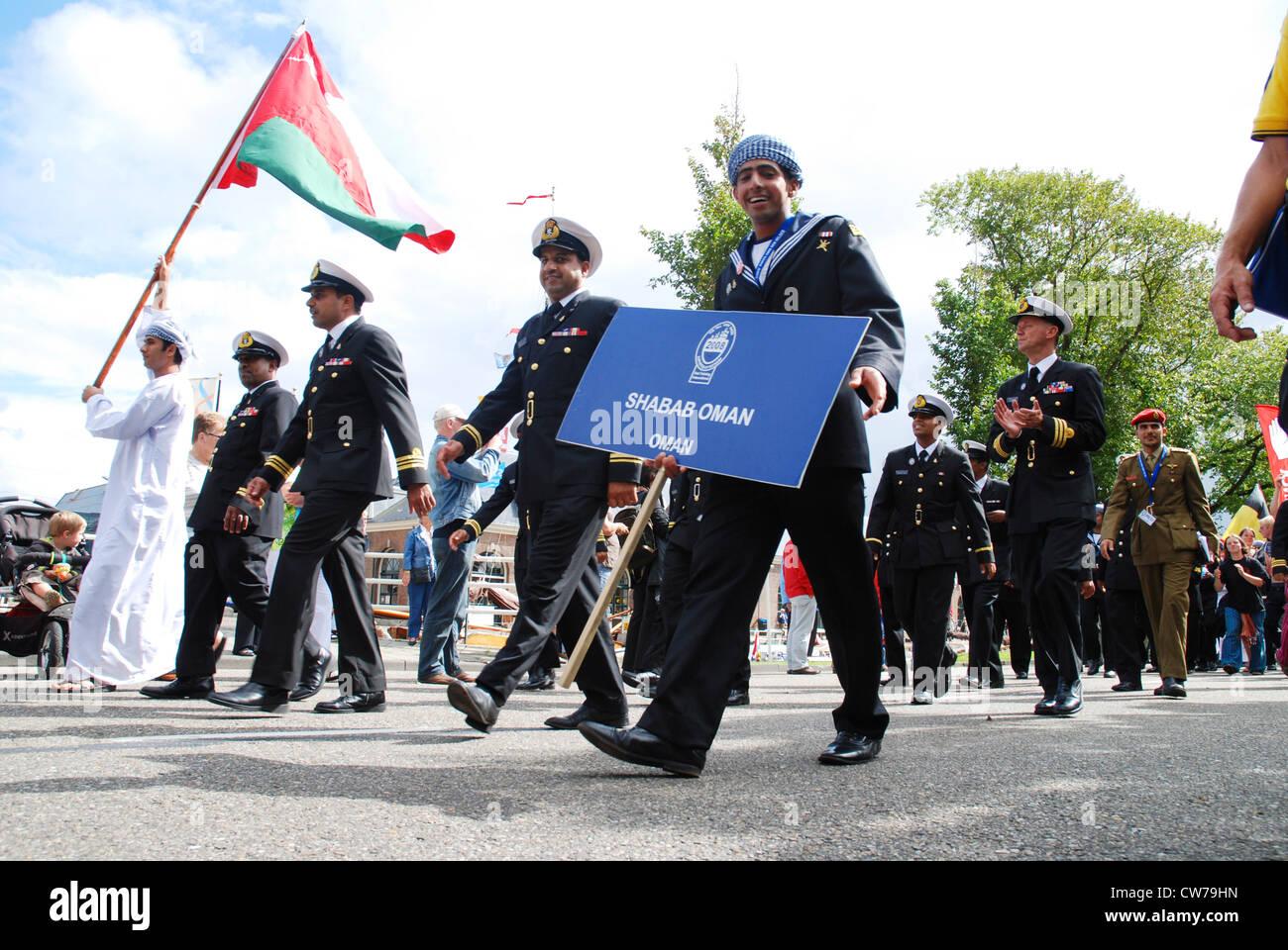 crew of Shabab Oman Tall Ship at parade, Netherlands, Den Helder - Stock Image