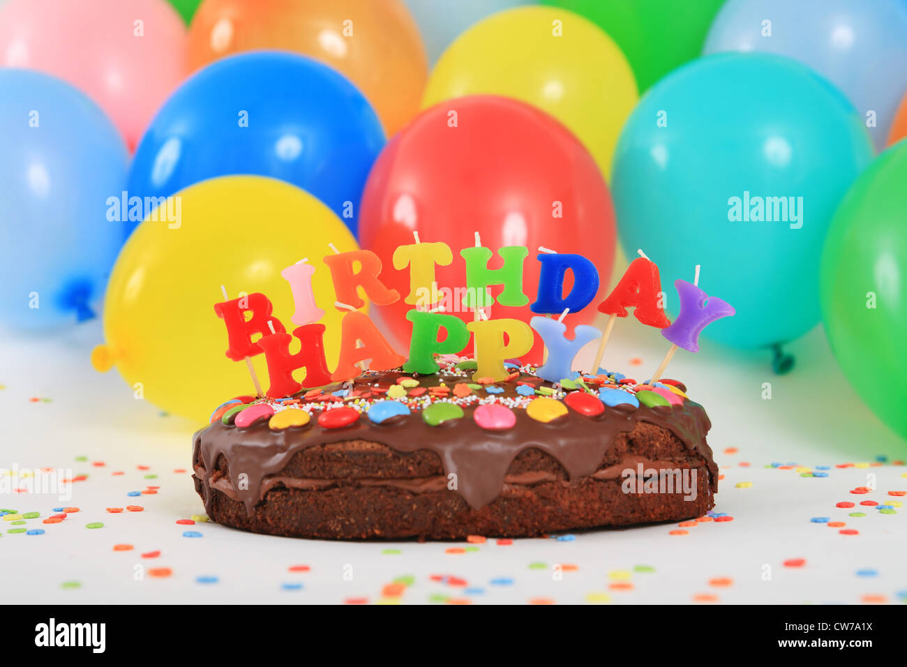 Fine Happy Birthday Chocolate Cake With Candles And Balloons Stock Personalised Birthday Cards Veneteletsinfo