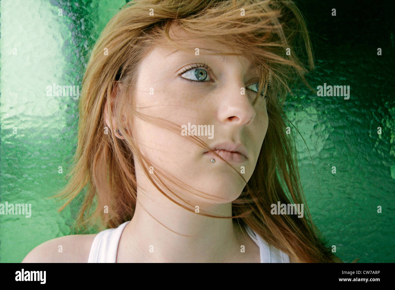 portrait of redheaded young woman, Germany Stock Photo