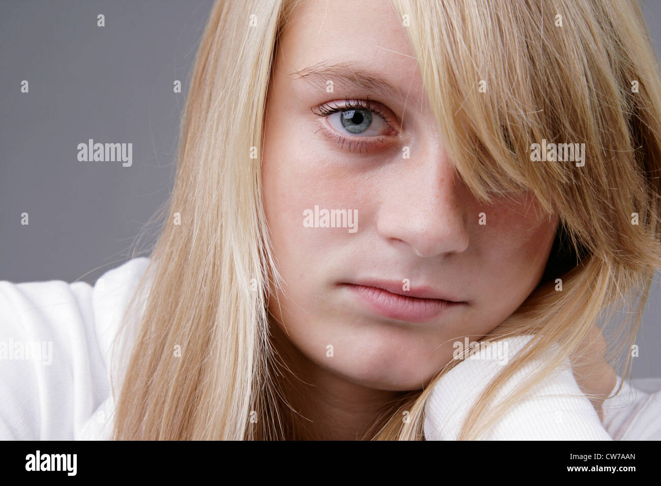 portrait of a young blond woman, Germany Stock Photo