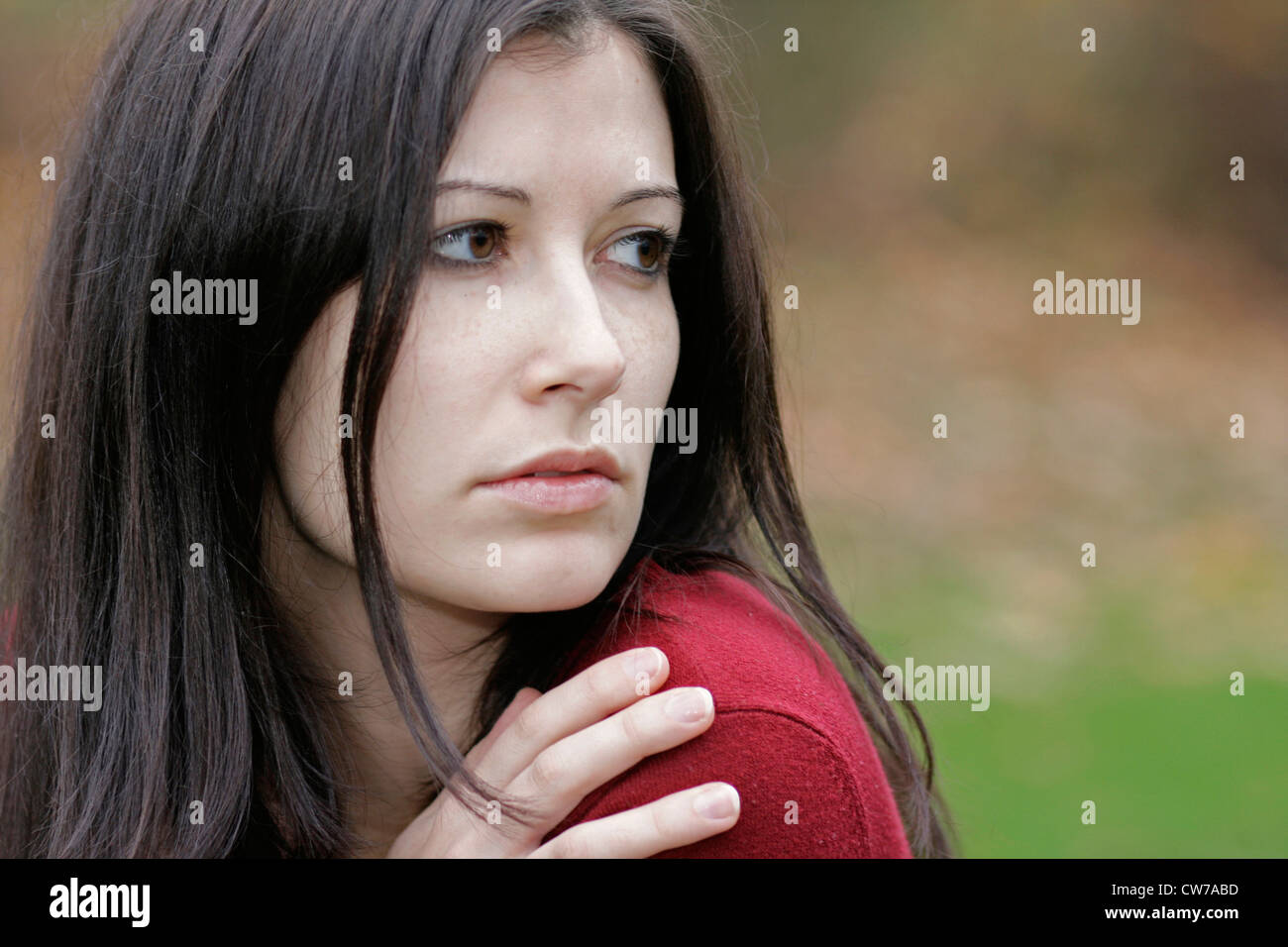 portrait of darkhaired woman, Germany - Stock Image