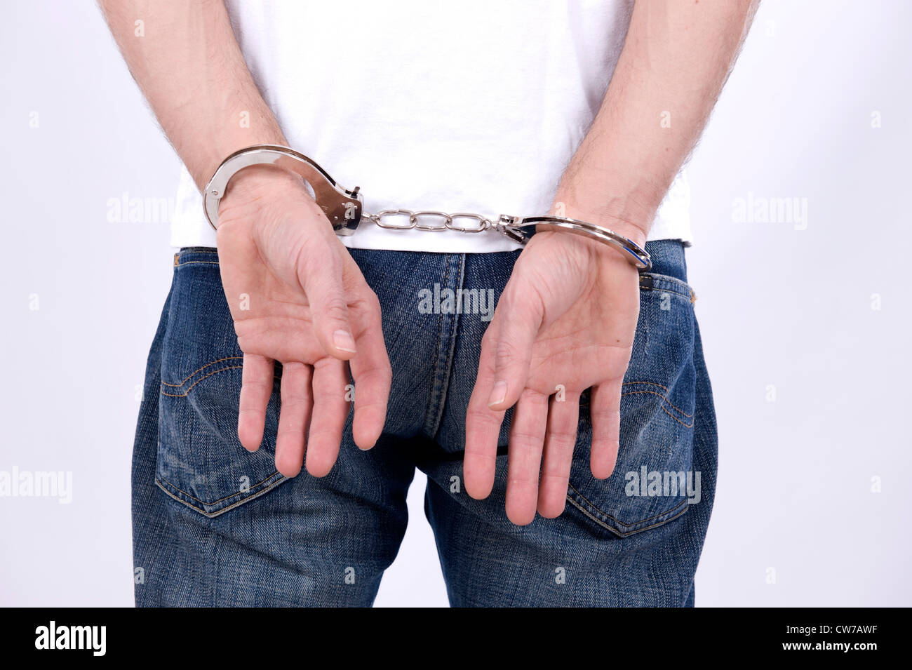 man with handcuffs - Stock Image