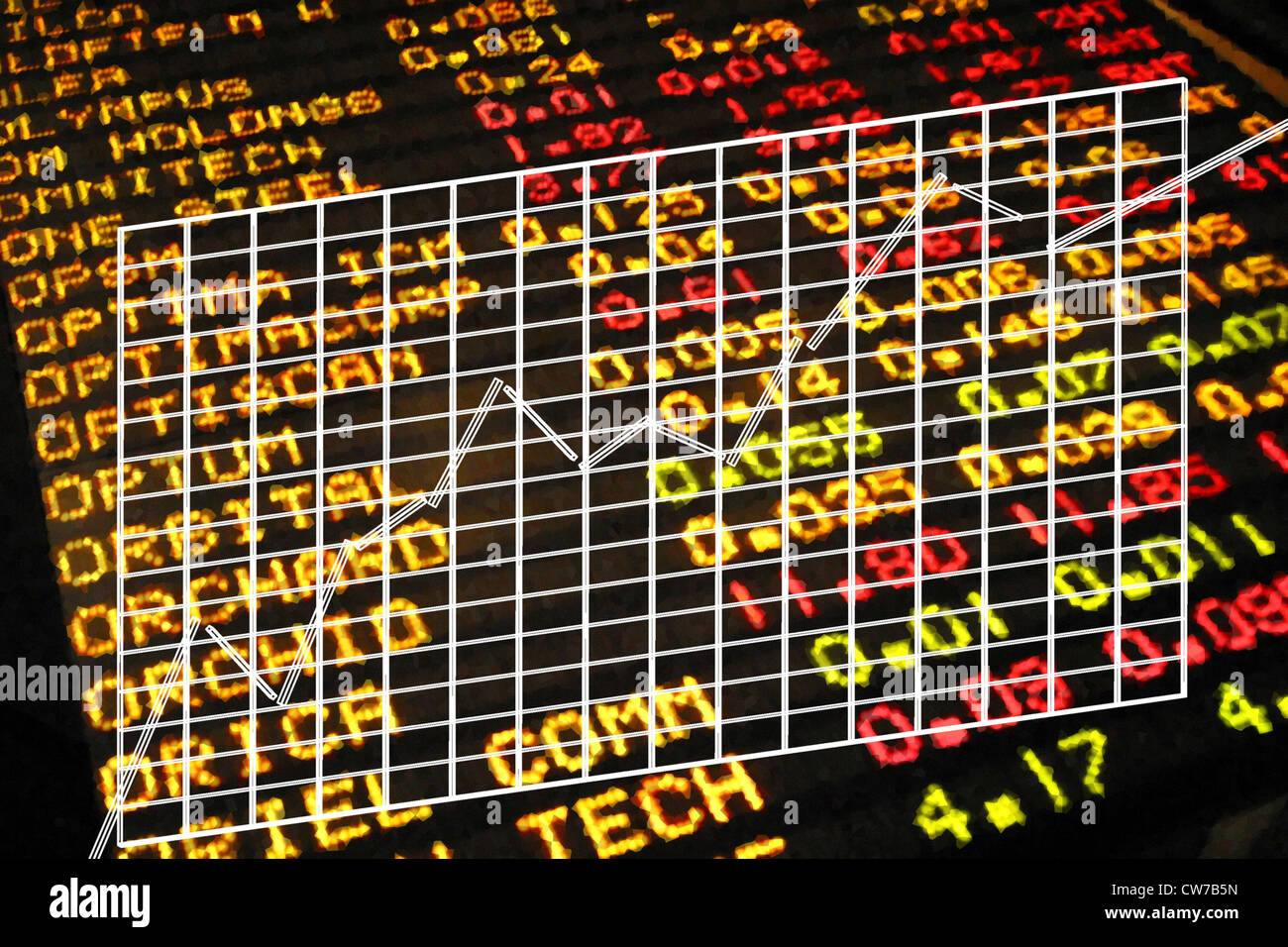 chart at stock market - Stock Image