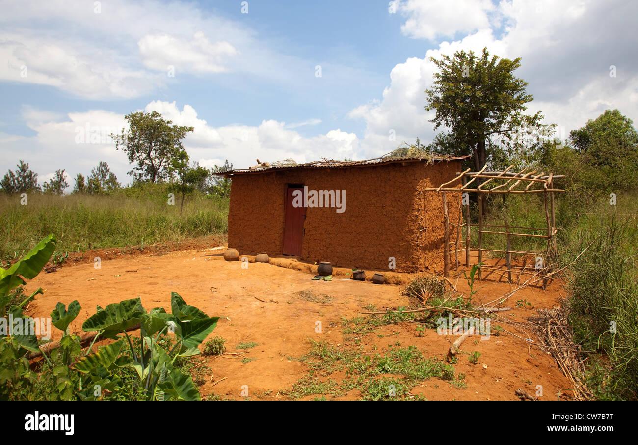 mud house, Burundi, Kirundo, Kirundo - Stock Image