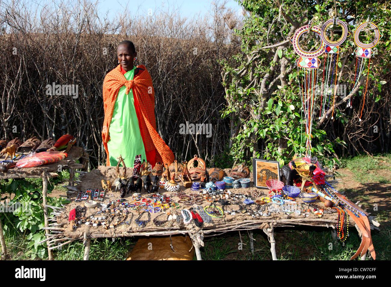Women and Masai jewelry, Kenya, Masai Mara National Park - Stock Image