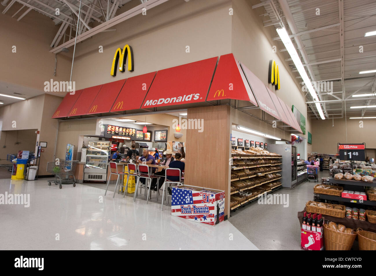 McDonald's restaurant inside a Wal-Mart Supercenter in San Marcos, Texas - Stock Image