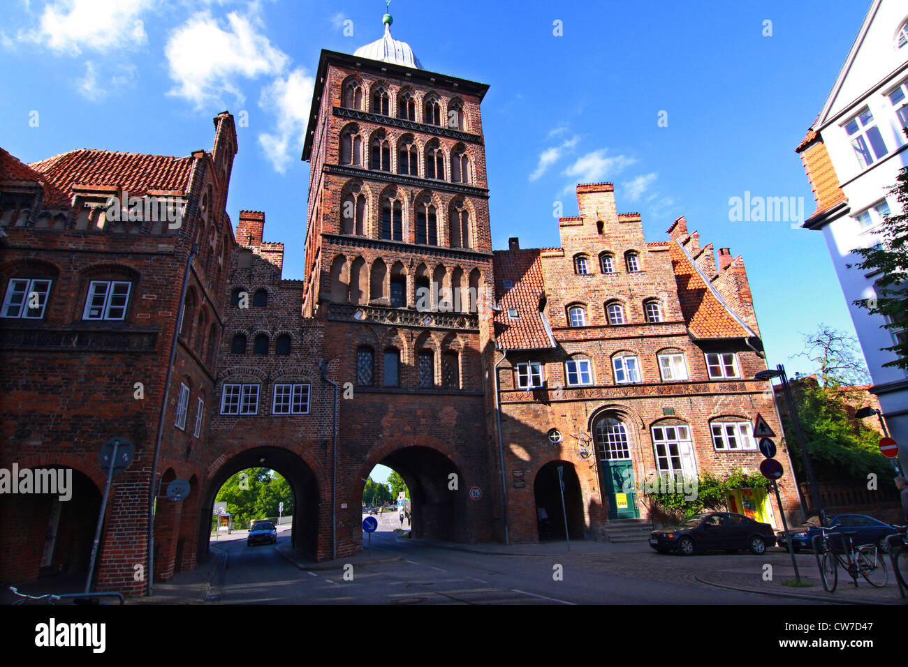 the Burgtor built in late Brick Gothic style, Germany, Schleswig-Holstein, Luebeck - Stock Image