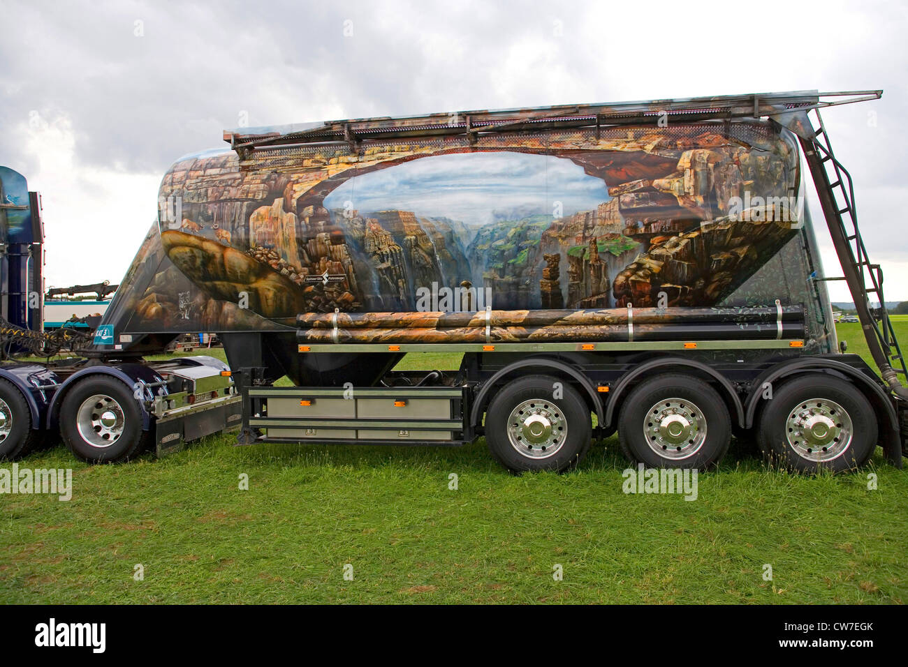 creatively painted truck at the trucker meeting Wolfsmeile, Germany, Schleswig-Holstein, Itzehoe - Stock Image