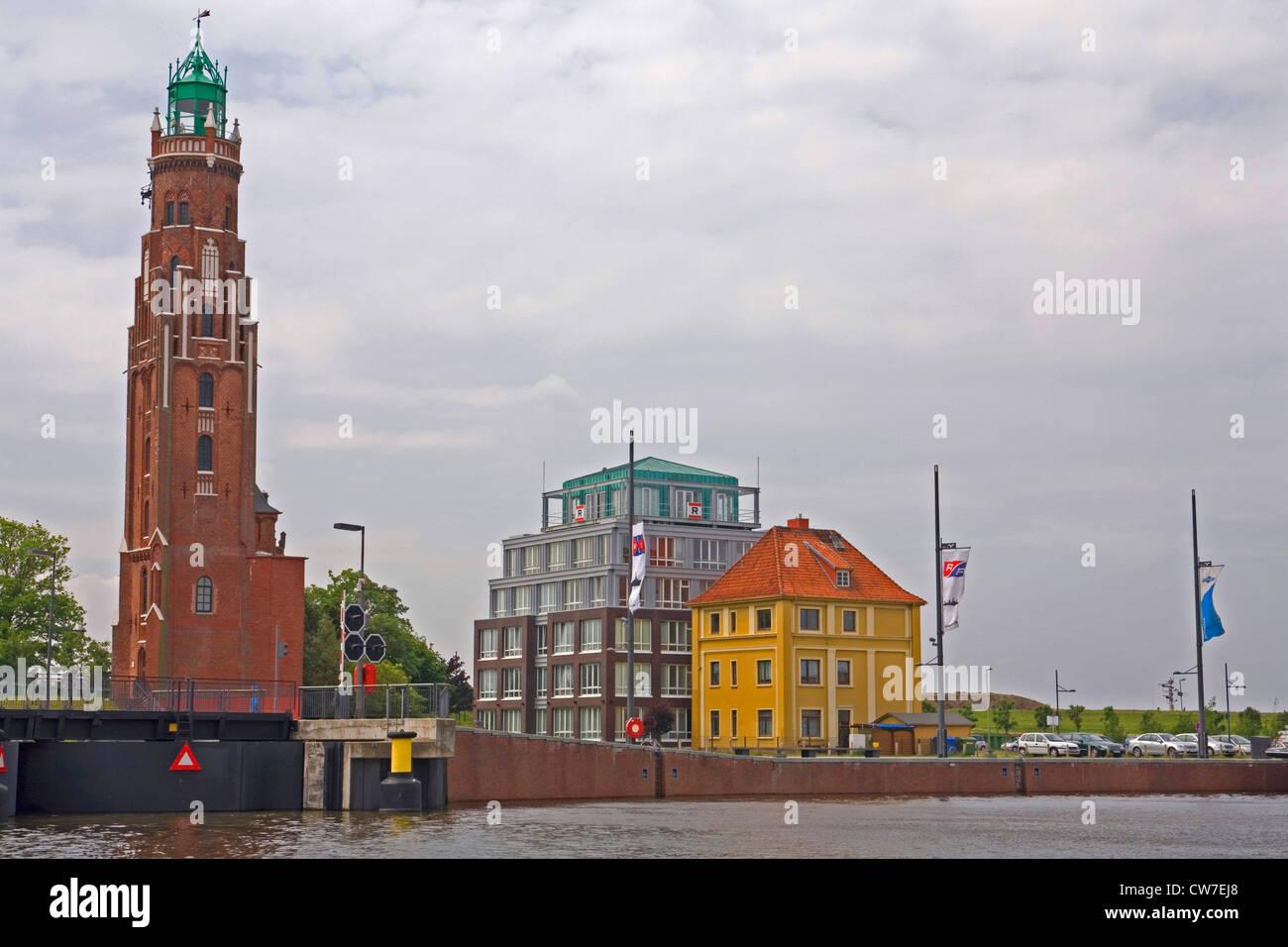 Big lighthouse, Germany, Freie Hansestadt Bremen, Bremerhaven - Stock Image