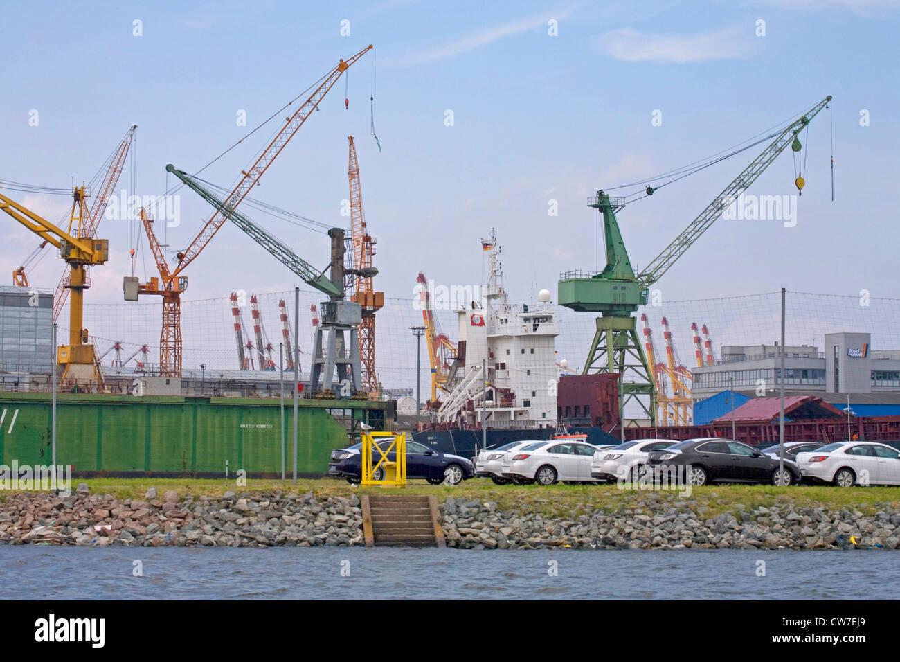 tower cranes at the harbour, Germany, Freie Hansestadt Bremen, Bremerhaven - Stock Image