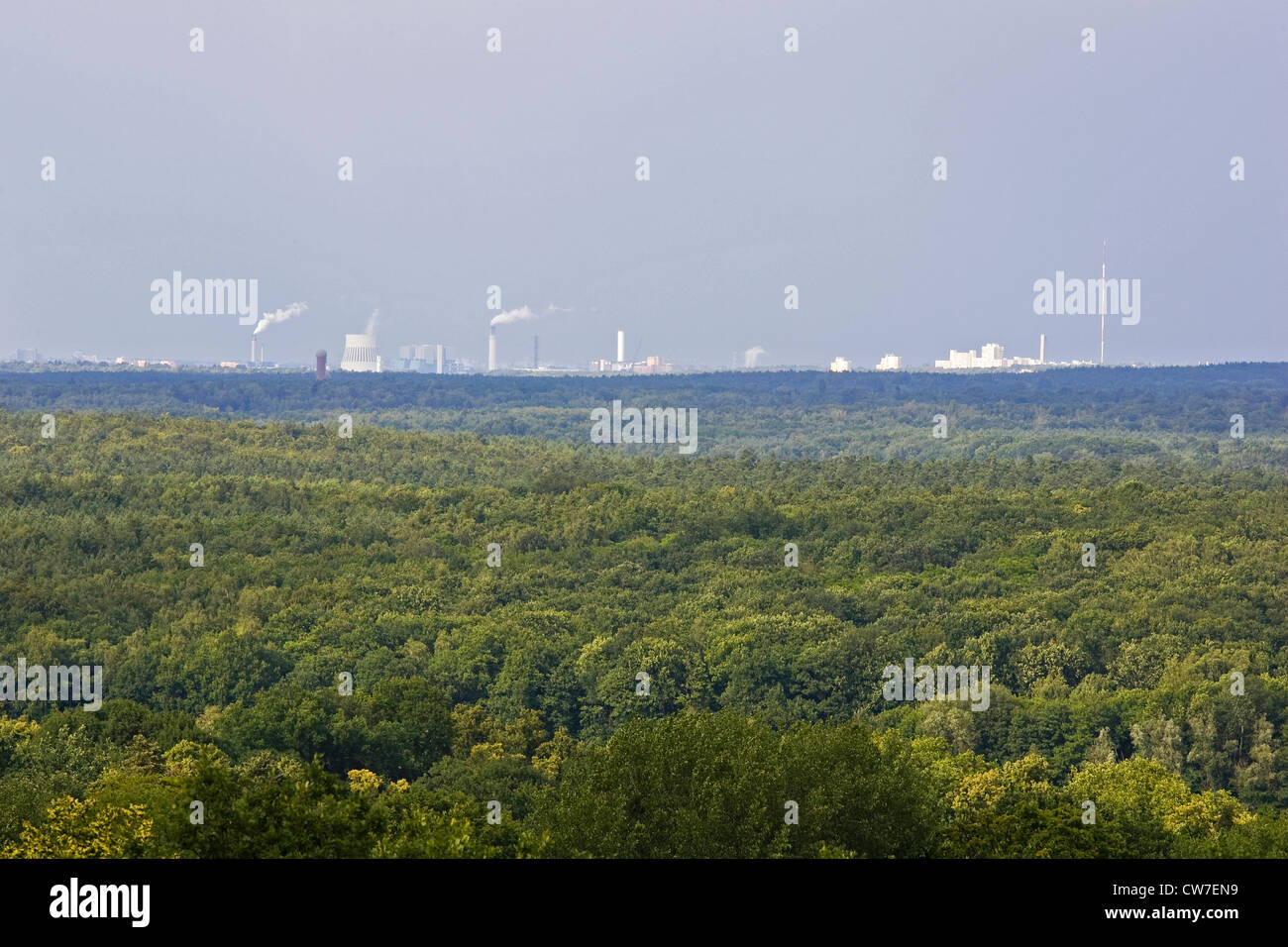 europe, germany, brandenburg, potsdam, belvedere auf dem pfingstberg, panorama of the forest with berlin and factories - Stock Image