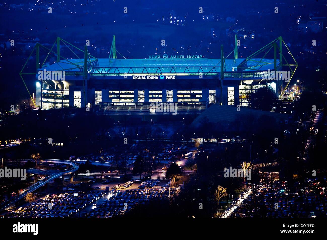 stadium of Borussia Dortmund, Signal Iduna Park, Germany, North Rhine-Westphalia, Ruhr Area, Dortmund - Stock Image
