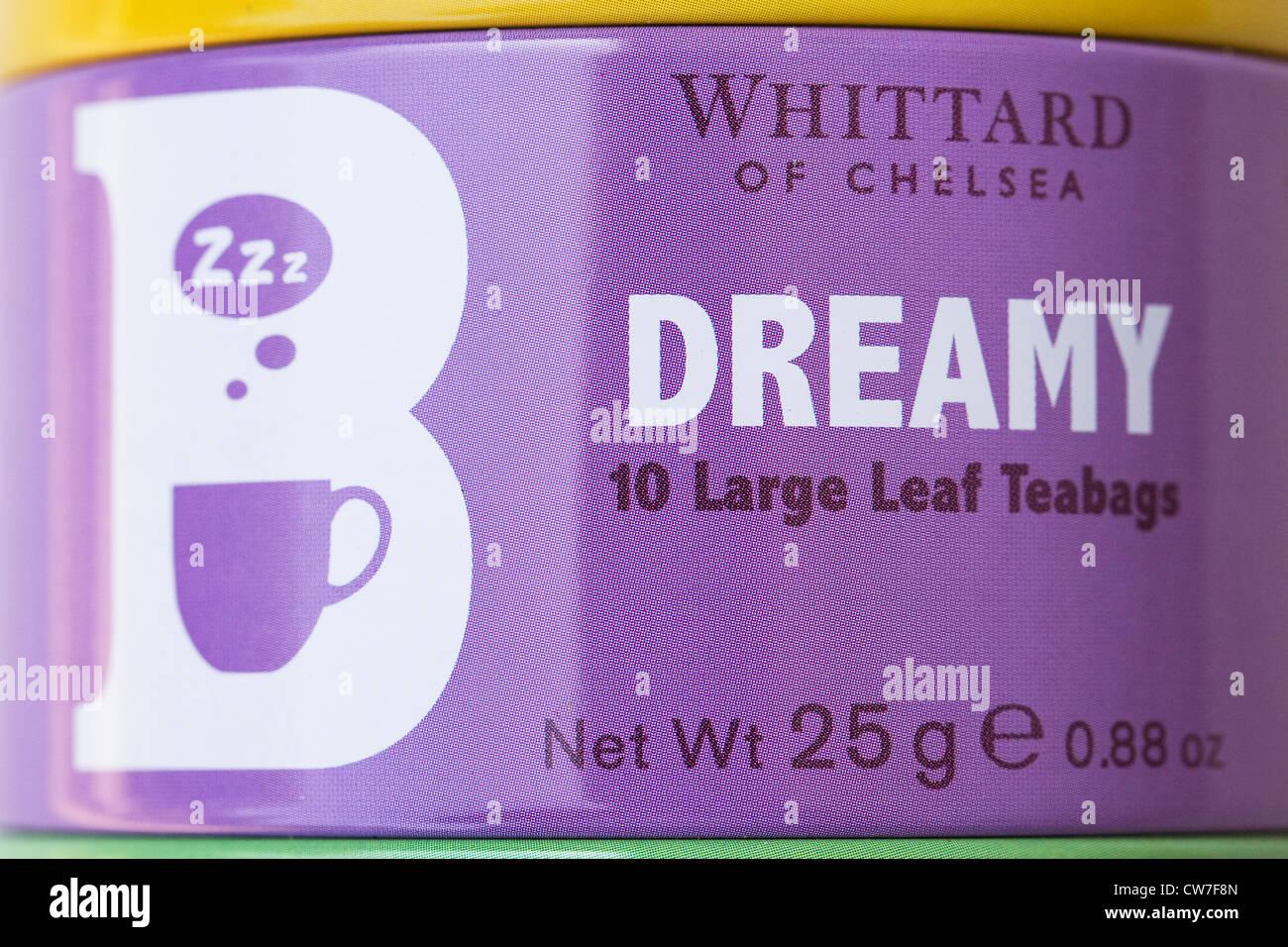 Colourful Whittard tea tin. - Stock Image