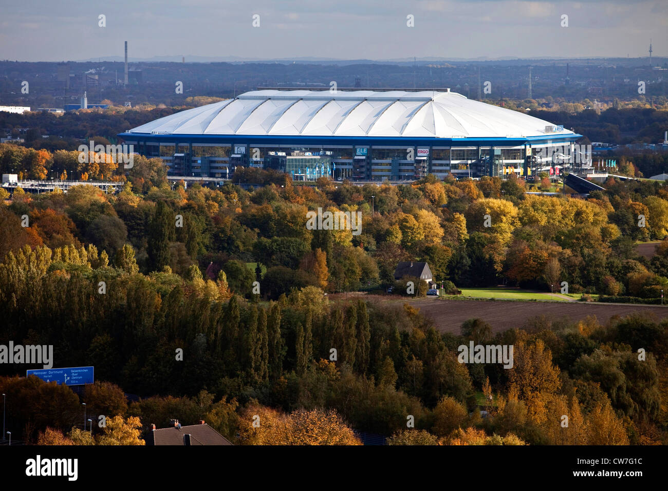 soccer stadium Veltins Arena at highway A2, Germany, North Rhine-Westphalia, Ruhr Area, Gelsenkirchen Stock Photo