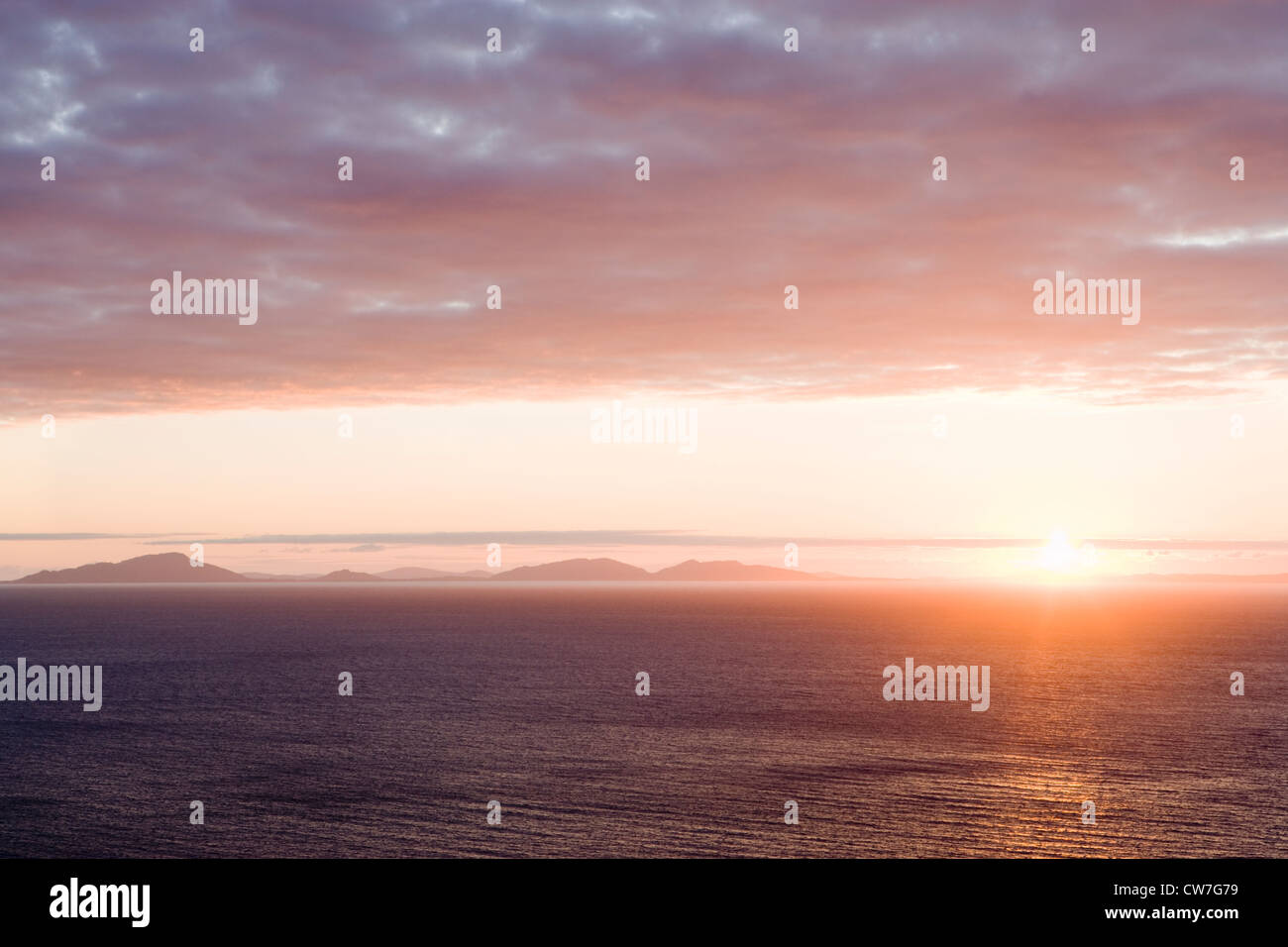 Sunset over Outer Hebrides (North Uist), from Skye, Scotland,UK. - Stock Image