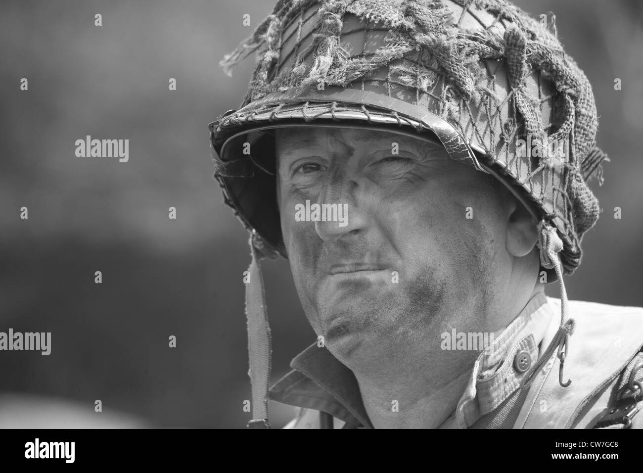 Re-enactor playing 1940's American Soldier - Stock Image