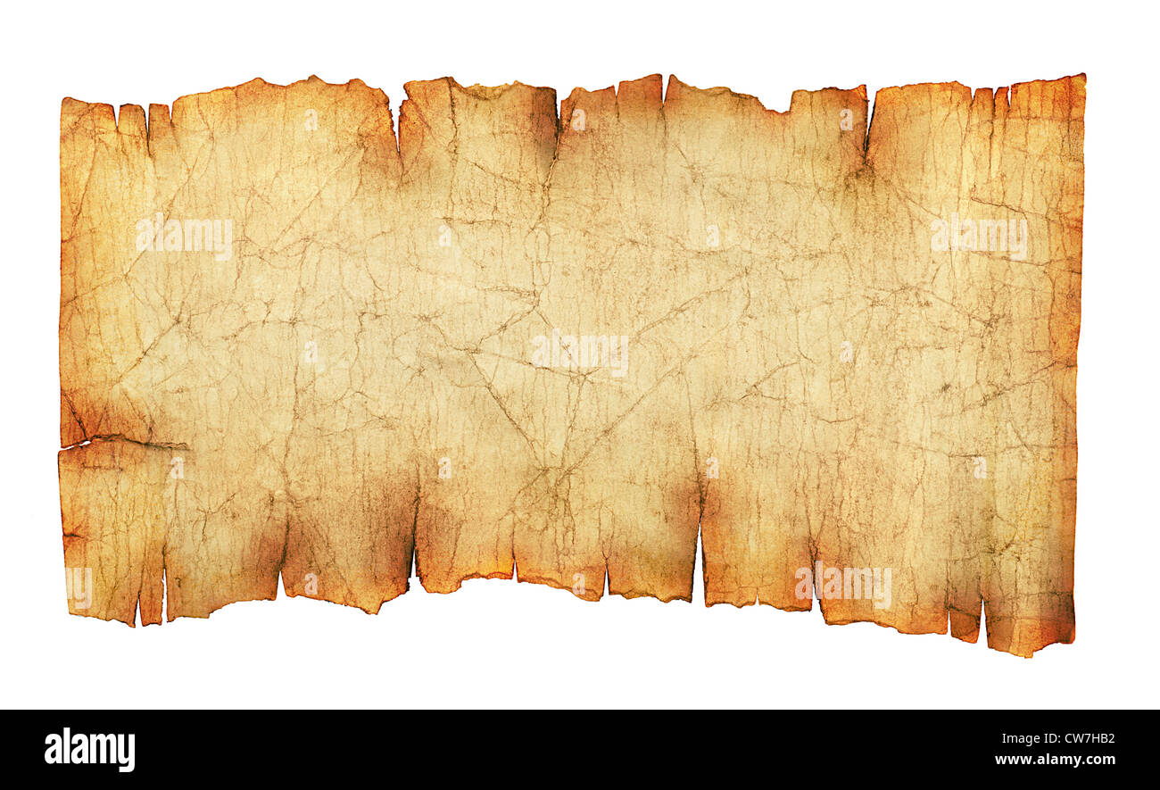 Old vintage paper scroll background or texture isolated on white - Stock Image