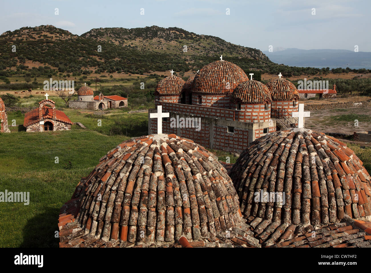monastery Dafia at Dafia, Greece, Lesbos - Stock Image