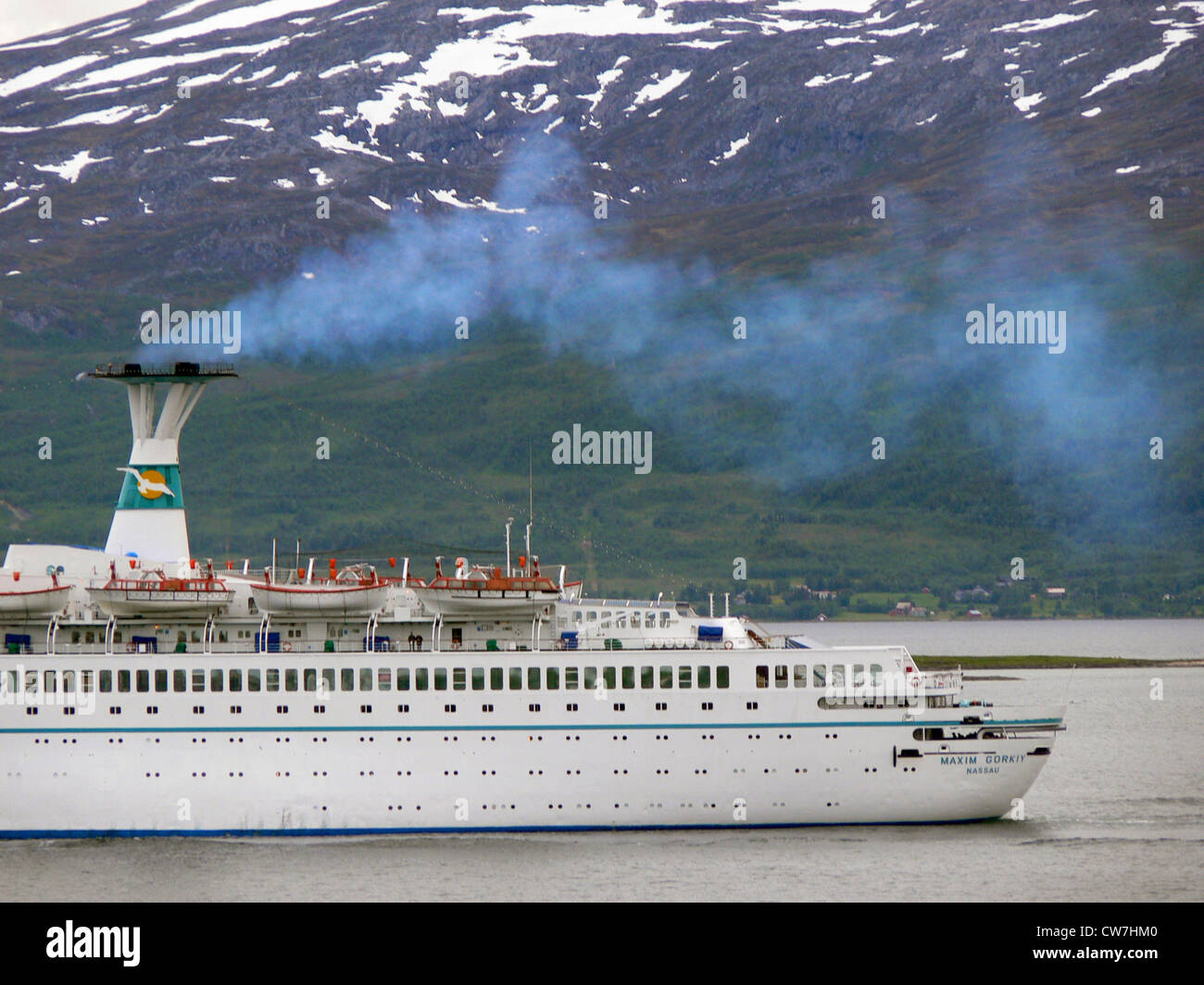 emissions from a cruiser, Norway, Troms, Troms� - Stock Image