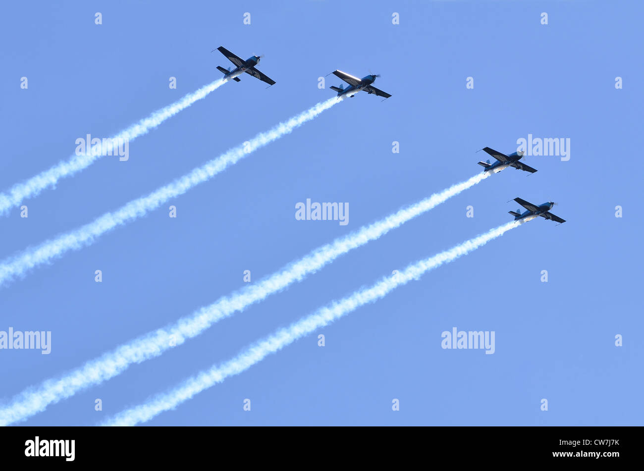 The Blades aerobatic display team, Royal Air Forces Association,  flying in formation at Farnborough International - Stock Image