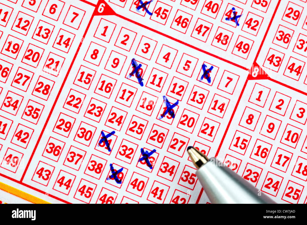 completed lottery ticket, Germany - Stock Image