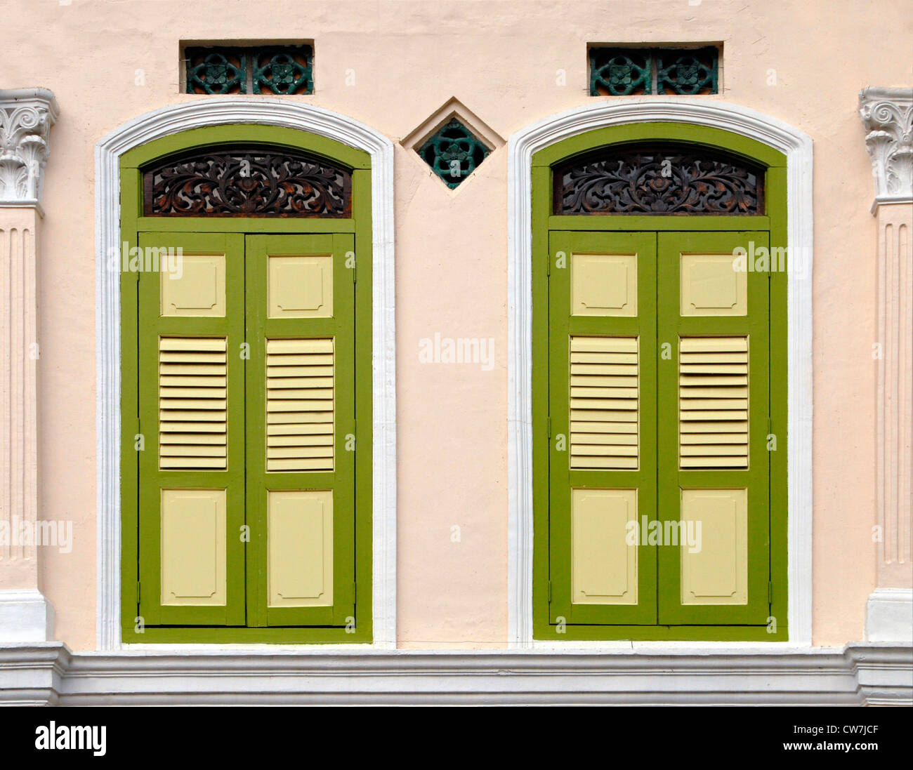 colorful decorative art deco windows, Singapore Stock Photo ...