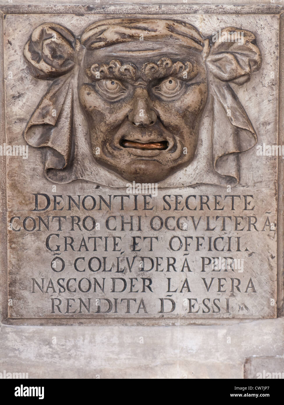 "Doge's Palace ""Lion's Mouth"" postbox for anonymous denunciations, Venice, Italy. Stock Photo"