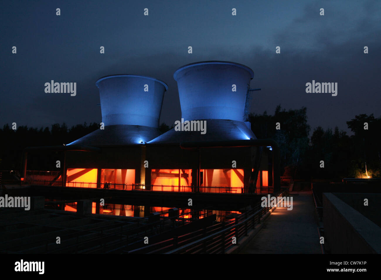'World of Water' with cooling towers beside the Jahrhunderthalle in the the West Park Bochum, Germany, North - Stock Image
