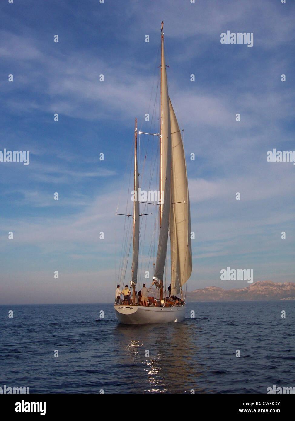 tourists on a sailing ship, Spain, Balearen, Majorca - Stock Image