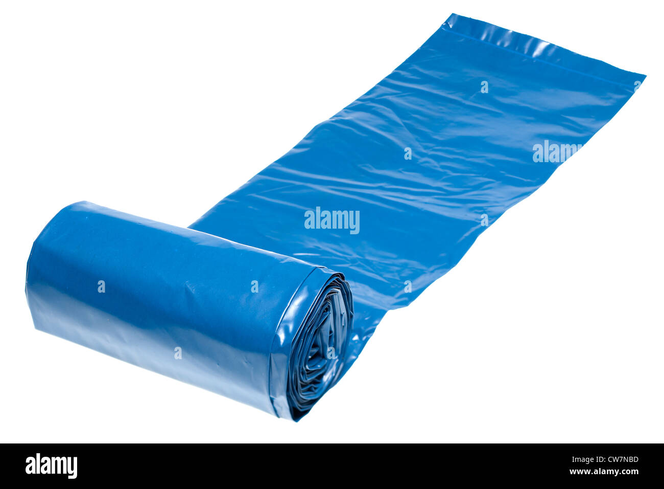 Roll of blue heavy duty rubble polythene sacks - Stock Image