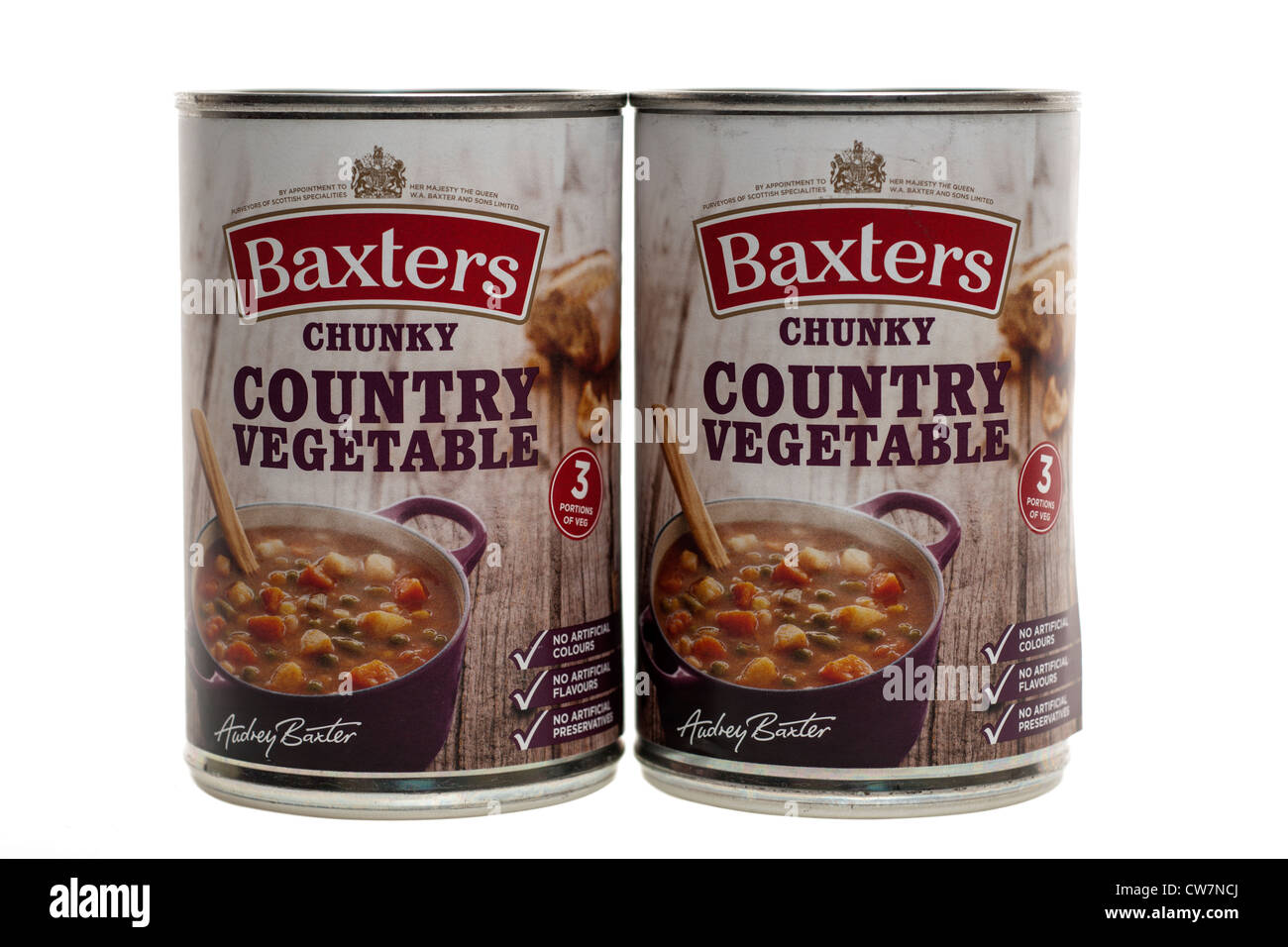 Two tins of Baxters chunky Country Vegetable soup - Stock Image
