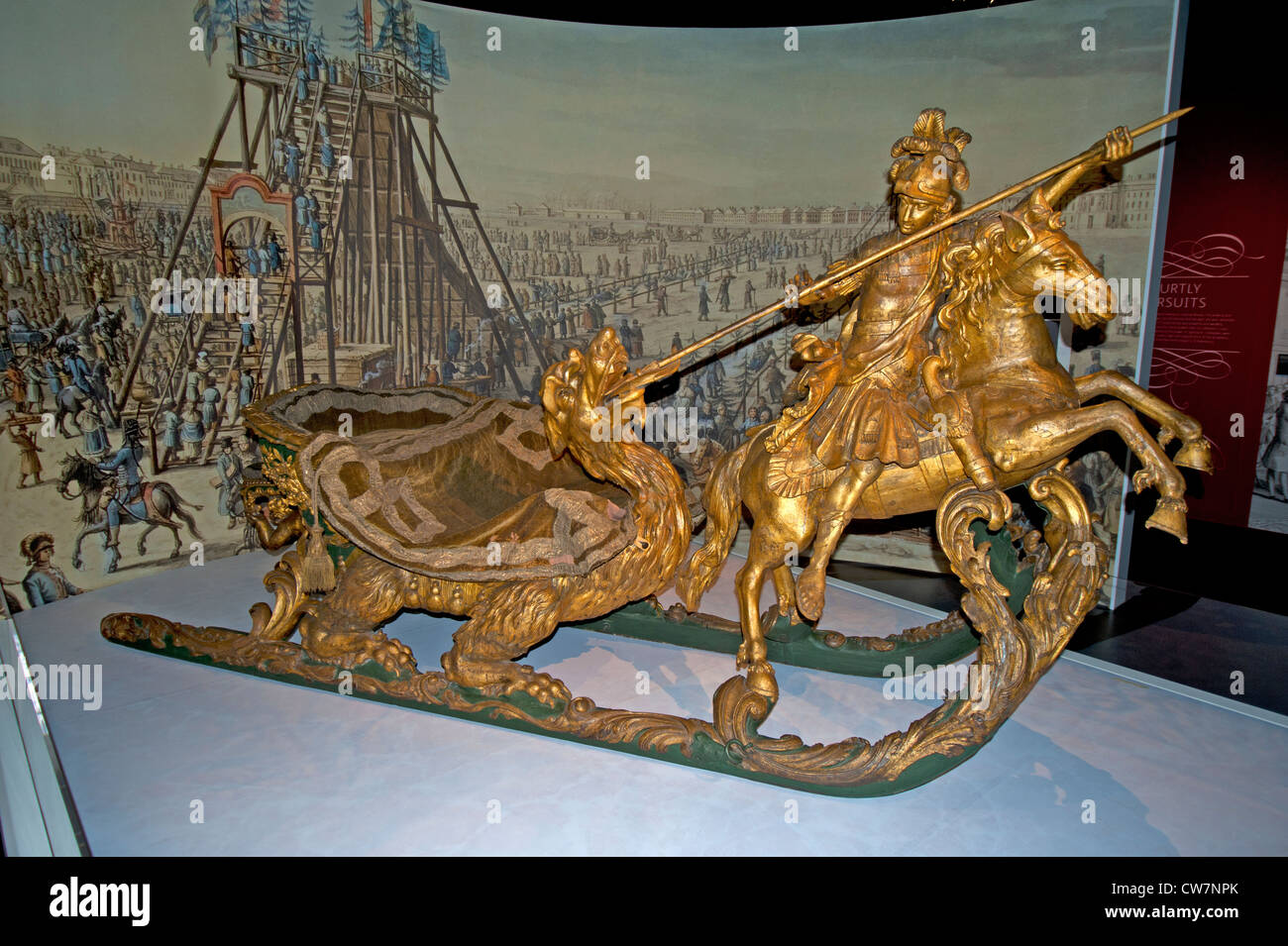 The Carnival Sledge used by Catherine the Great as part of the Winter festival proceedings. SCO 8307 Stock Photo