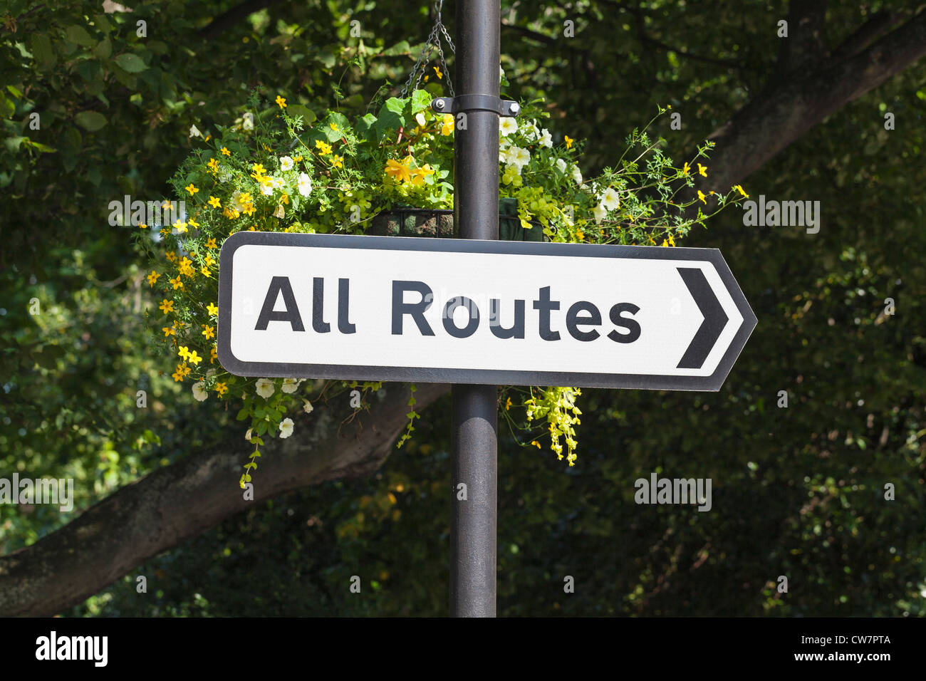 All routes street sign, England - Stock Image