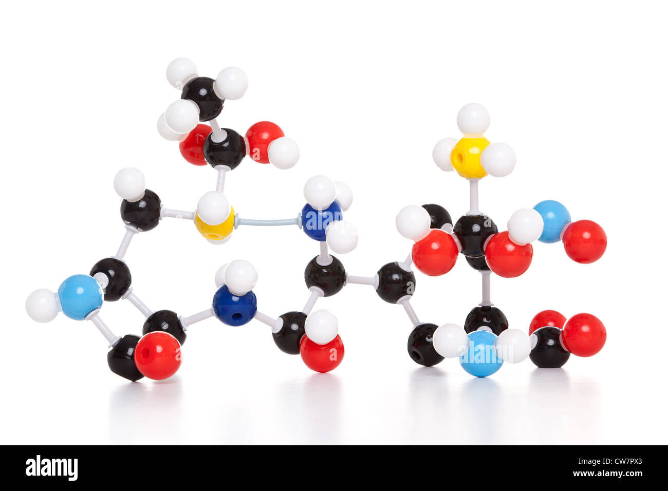 Photo of a molecular atom model isolated on a white background. - Stock Image