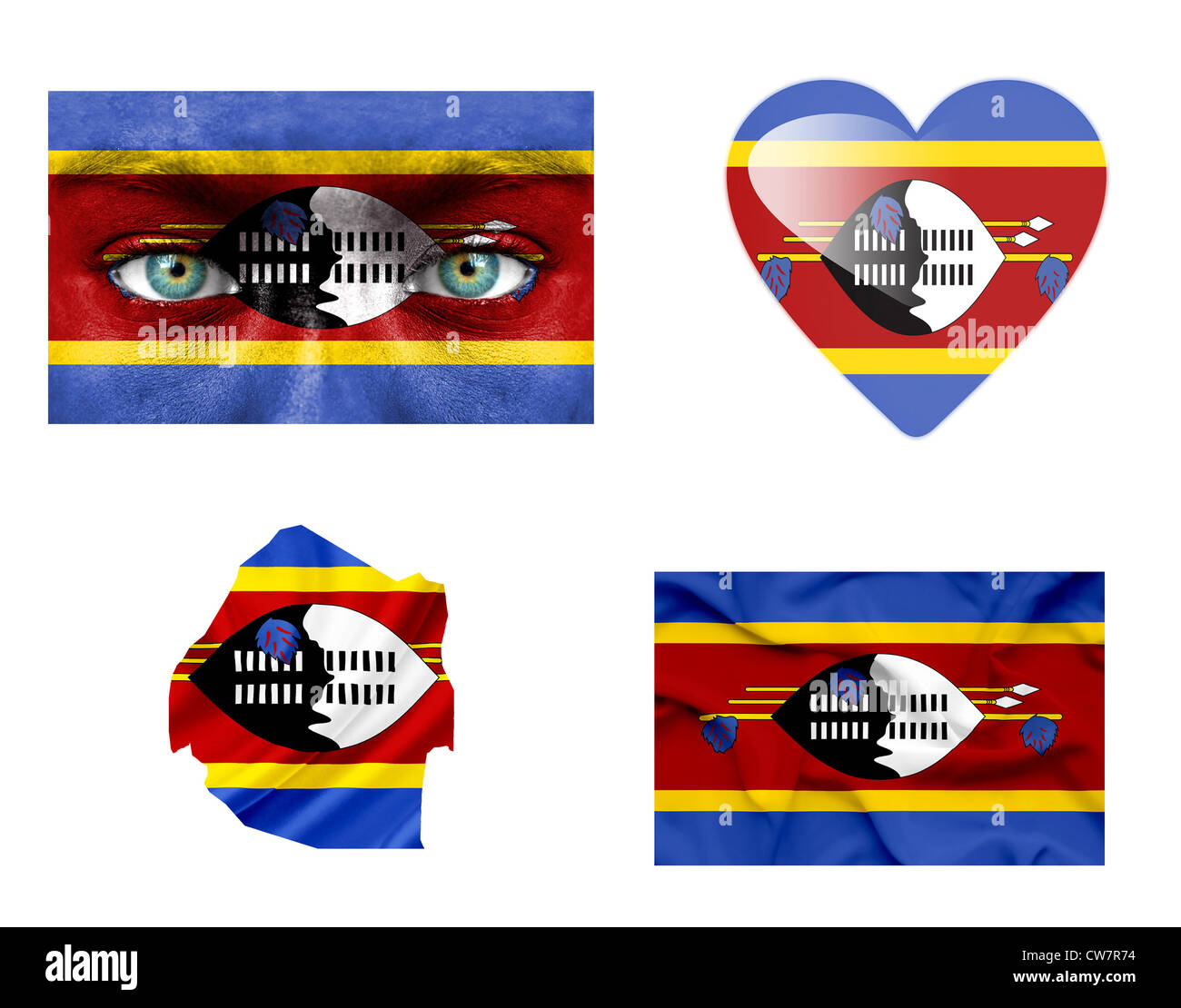 Set of various Swaziland flags Stock Photo