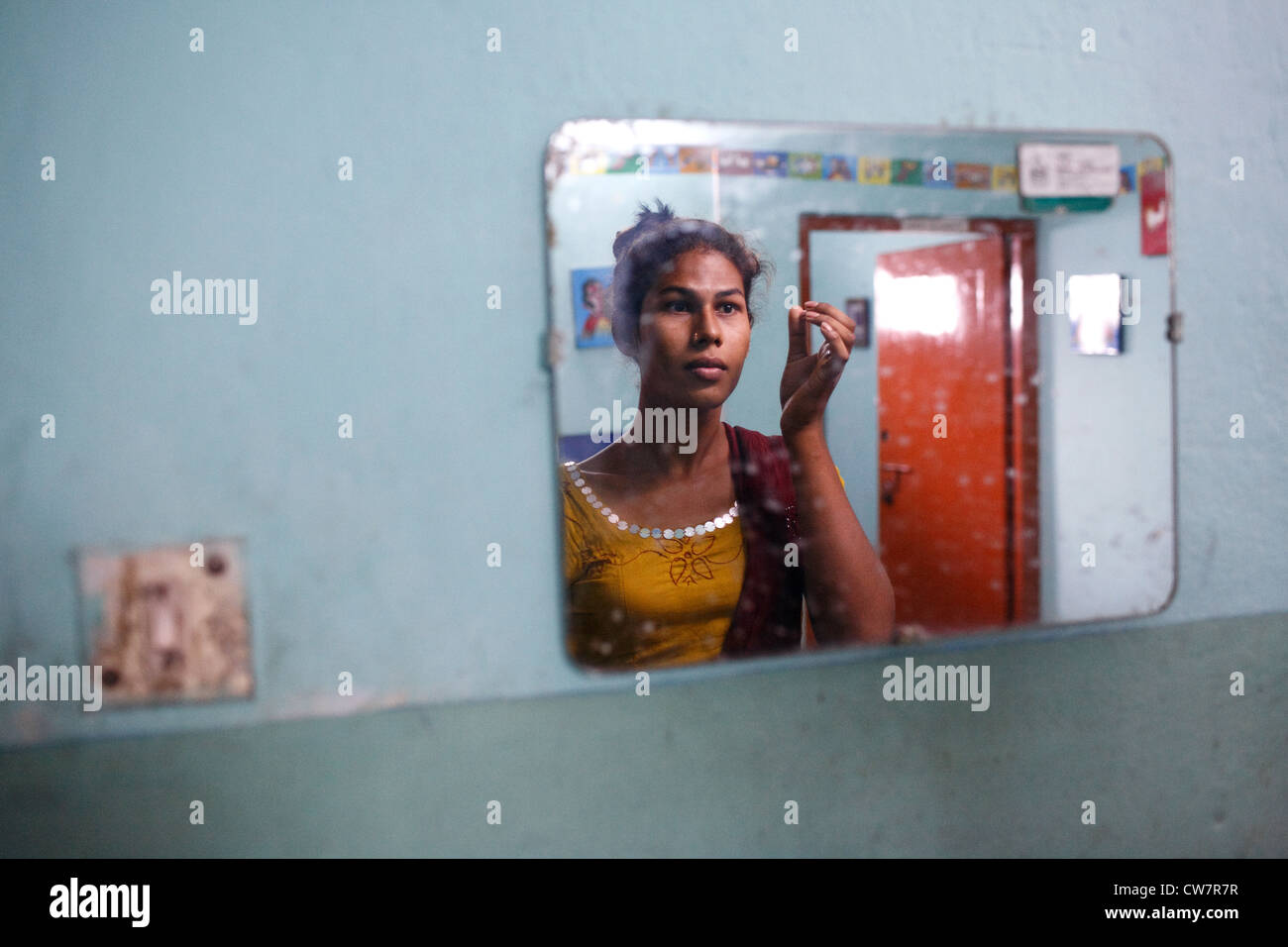 A portrait of a transgender person (hijra) in Chittagong, Bangladesh. -  Stock