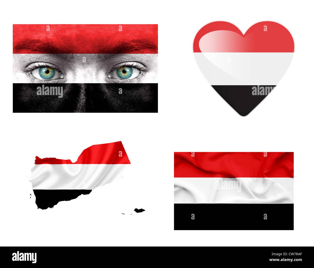Set of various Yemen flags - Stock Image